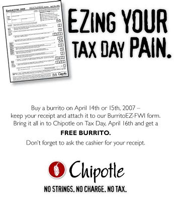 Buy Chipotle Gift Card Get Free Burrito - free burrito from chipotle on april 16 2007 at probargainhunter com