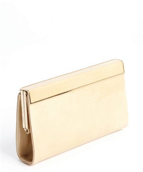 Jimmy Choo Mave Liquid Patent Clutch by Lyst Jimmy Choo Patent Leather Gold Trim Cayla