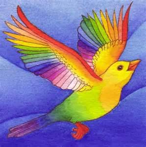 rainbow colored bird pet works