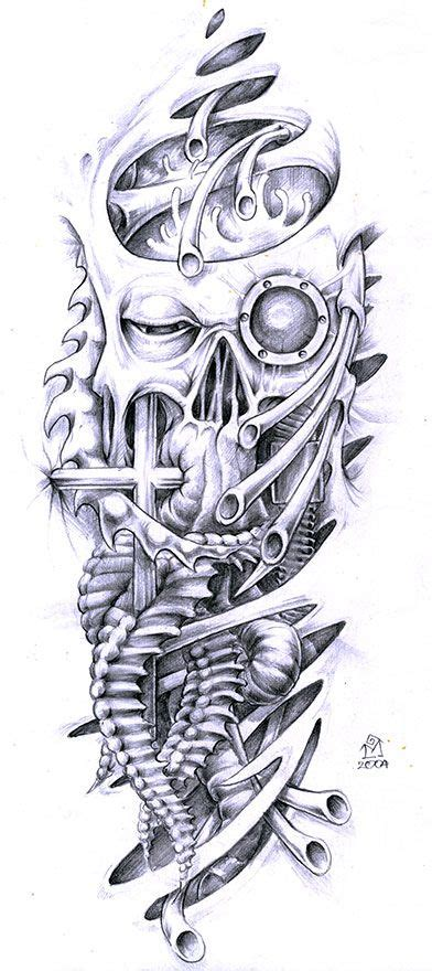biomech tattoo designs biomechanical skull design and