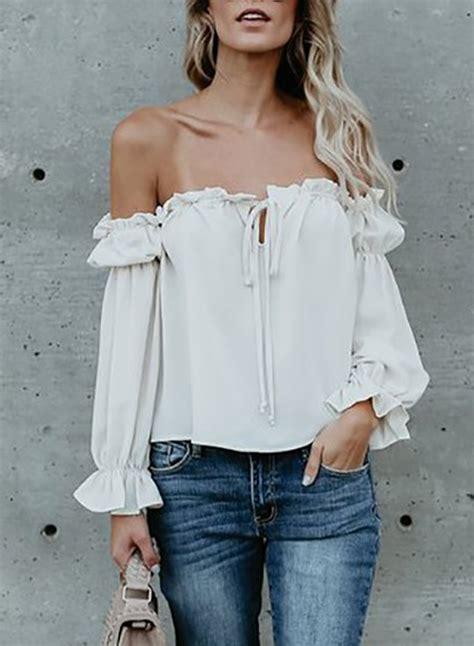 Shoulder Ruffle Chiffon Blouse fashion shoulder sleeve ruffle chiffon blouse