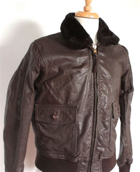 Fly Bomber Jacket vintage 1960s bomber jacket 60s 70s usn brown leather