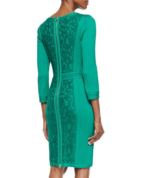 tadashi shoji 3 4 sleeve panel cocktail dress