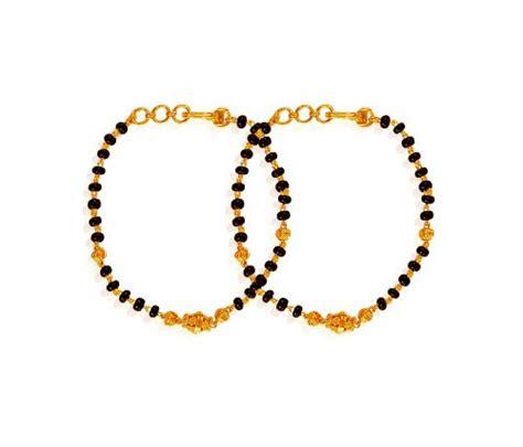 black bangles for baby 22k black bead bracelets pair ajkb61147 22k gold