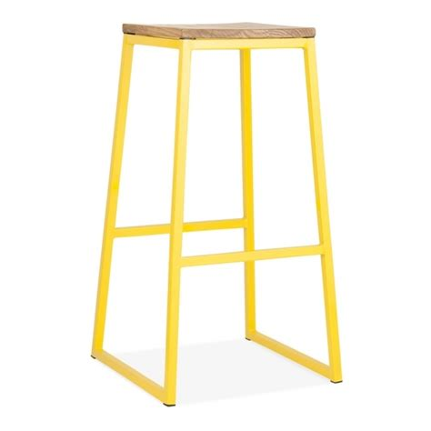Yellow Solid Stool by Yellow 75cm Consec Stool With Wood Seat Bar Furniture
