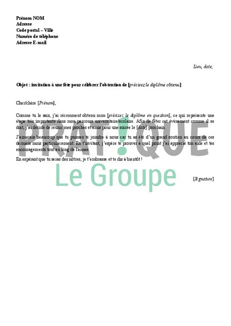 Exemple De Lettre D Invitation A Une Fete Modele Invitation Officielle Gratuite Document