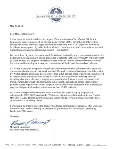 Letter Of Recommendation For Community Service Award Jim Walton 2014 Nominee For Modern Healthcare S