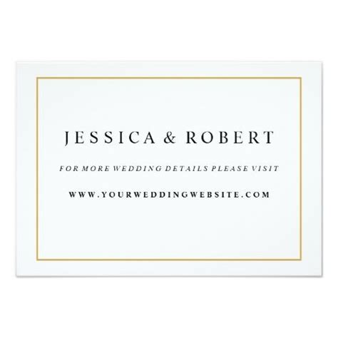 Elegant Gold Border Wedding Website Insert Card   Zazzle