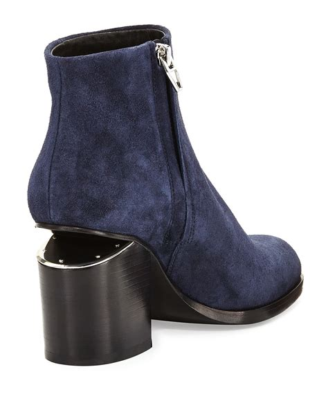 wang gabi lift heel suede ankle boot in blue lyst