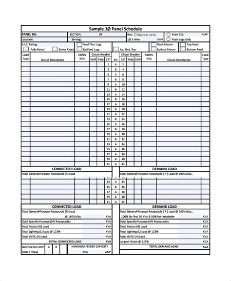 8 Panel Schedule Templates Sle Templates Electrical Panel Schedule Template