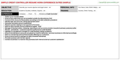 Credit Controller Resume by Credit Controller Resume Sle Www Sanitizeuv