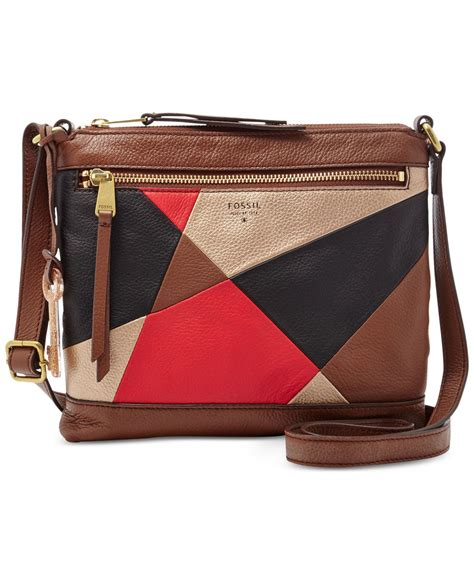 Fossil Patchwork Crossbody - lyst fossil gifting leather patchwork crossbody in brown