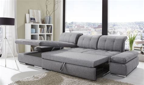 Sectional With Sleeper Sofa Alpine Sectional Sleeper Sofa Left Arm Chaise Facing Black White Fabric Buy At Best