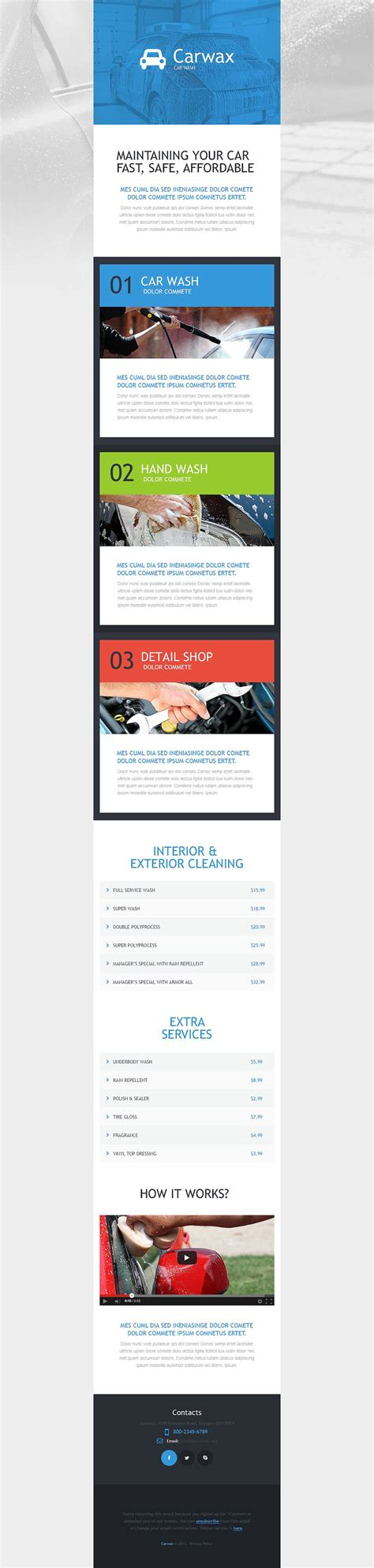 responsive newsletter templates car wash responsive newsletter template 54023