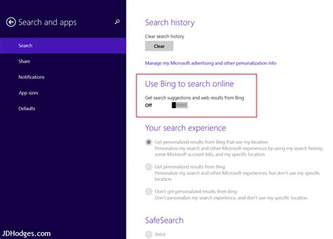 how to disable bing web results in windows 10s search c settings do not use bing to search online