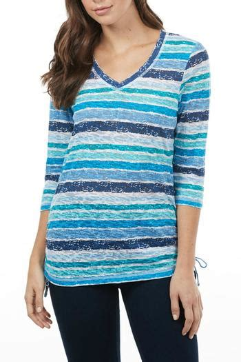 Stripe Mixed S M L Blouse N4932 Import fdj dressing blue mix stripe top from canada by