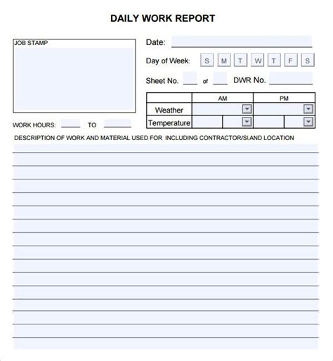 work report template word 10 daily report templates word excel pdf formats