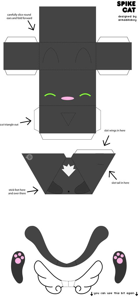 Spike cat paper craft by armadilloboy on DeviantArt