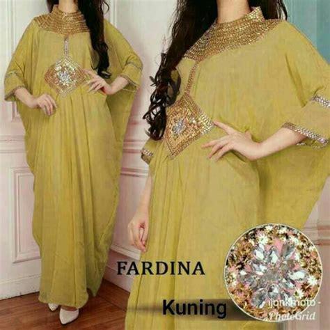 Gamis Kaftan Ceruty Payet kaftan sifon cantik faradina kuning baju gamis terbaru