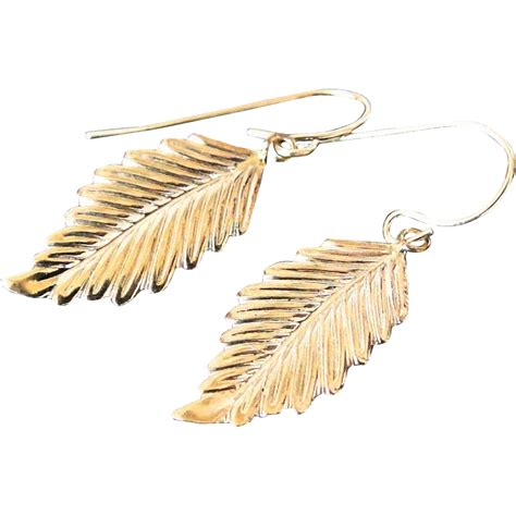 Golden Leaf Earring by 14k Gold Leaf Earrings Detailed Leaf Drop Earrings From