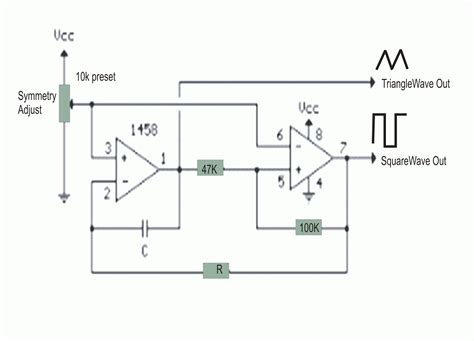 simple triangle wave square wave generator circuit