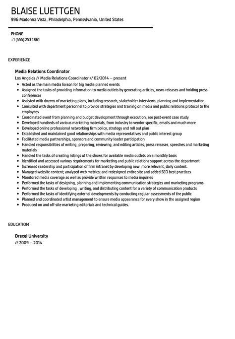 media relations coordinator resume sle velvet