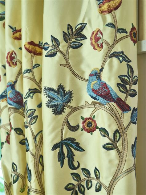 bird drapes living room morgan beige blue embroidered bird tree faux