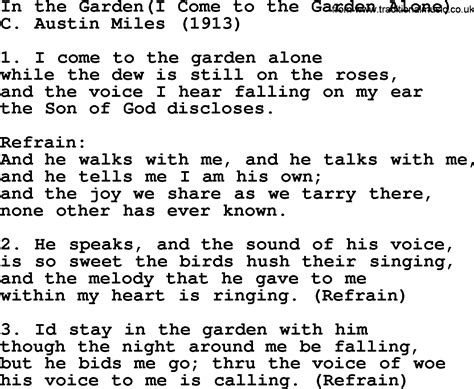 In The Garden Hymn Lyrics by Most Popular Church Hymns And Songs In The Garden I Come