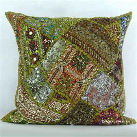 Unique Decorative Pillows Unique Green Heavy Bead Works Embroidered Decorative Throw