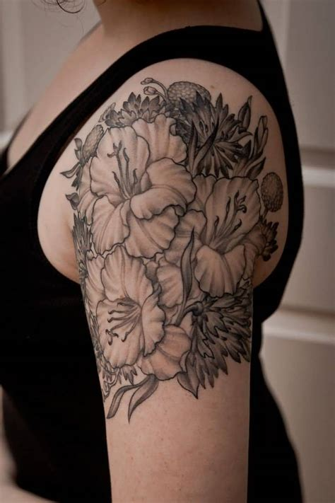 black and gray flower tattoos 60 one trendy gladiolus tattoos golfian