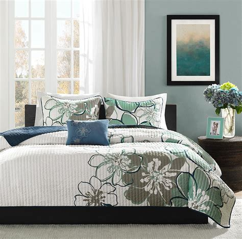 Blue Gray Coverlet Printed Mizone Floral Coverlet Sets Ease Bedding With