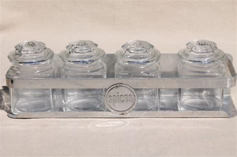 vintage spice rack set of glass jars w lids 12 small