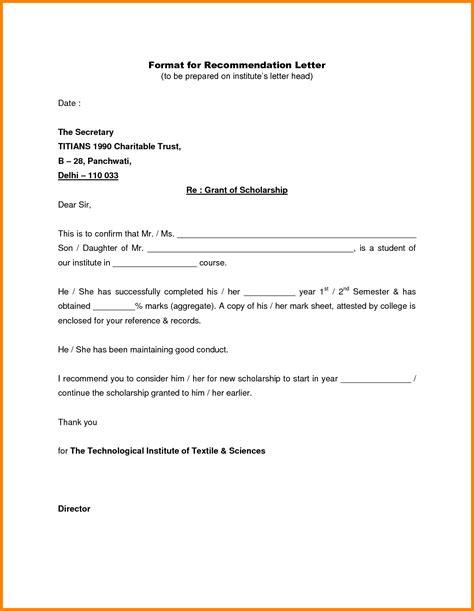 Letter Of Recommendation Paper Type 8 letter format recommendation ledger paper