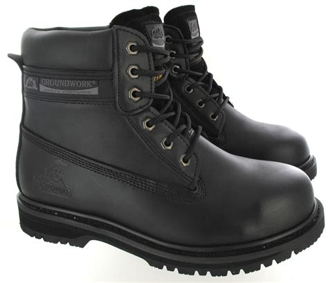 mens pull up boots mens groundwork steel toe cap safety pull on dealer lace