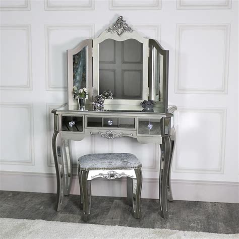 Mirrored Bedroom Furniture For Sale by Mirrored 3 Drawer Dressing Table Stool And Mirror Bedroom