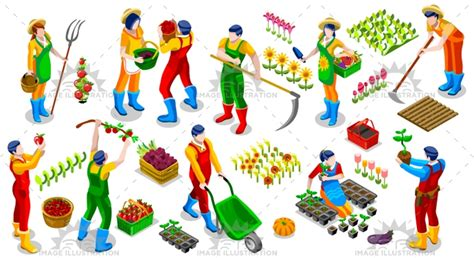 isometric farmer people  icon collection vector