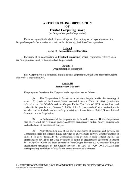 articles of incorporation template free articles of incorporation template 6 free templates in