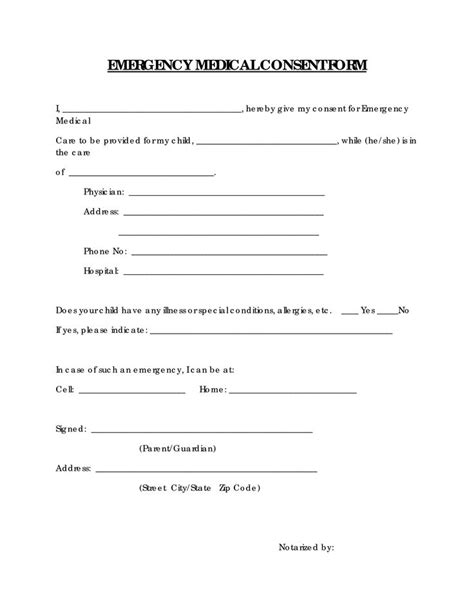 consent form template free free printable consent form emergency