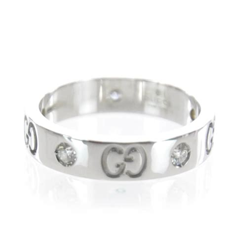 gucci 18k white gold icon thin band ring 4 5
