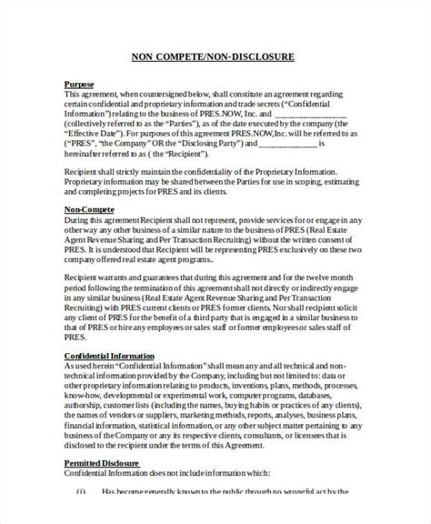 confidentiality and non compete agreement template 19 free confidentiality agreement forms free documents