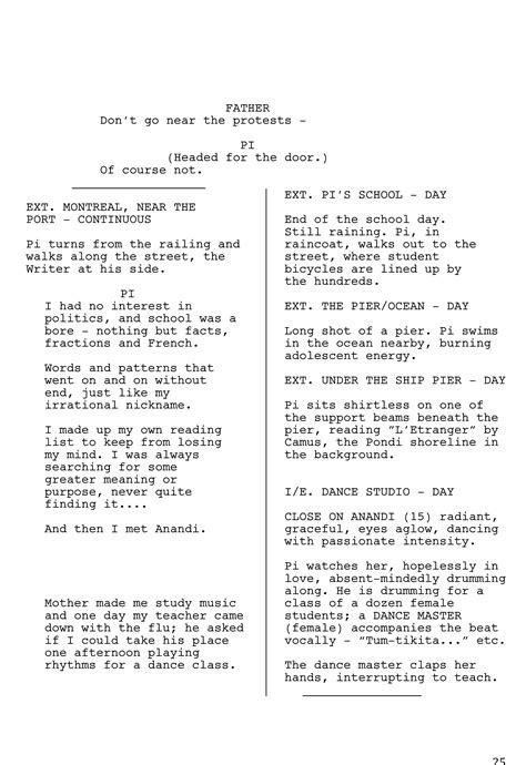 biography movie script adapting life of pi for the big screen took 170 script