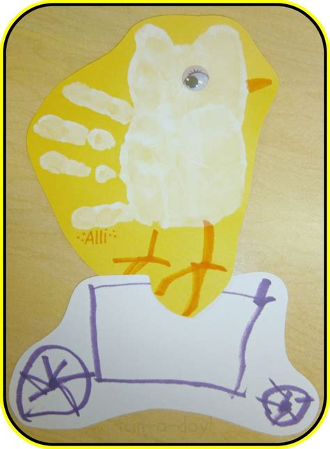 story themed activities quot duck on a bike quot story retelling and hand print art
