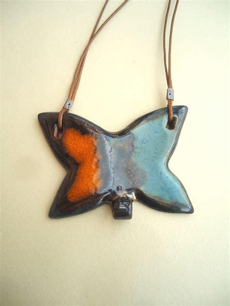 Pottery Jewelry Handmade - handmade butterfly necklace ceramic jewelry pottery by