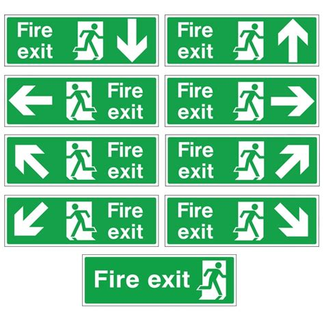 Emergency Exit Floor Plan White Rigid Plastic Self Adhesive Fire Exit Signs