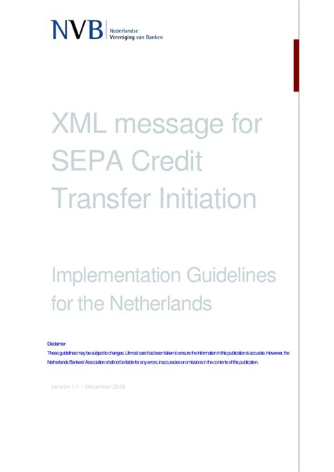 Sepa Credit Transfer Format Xml Xml Message For Sepa Credit Transfer Initiation