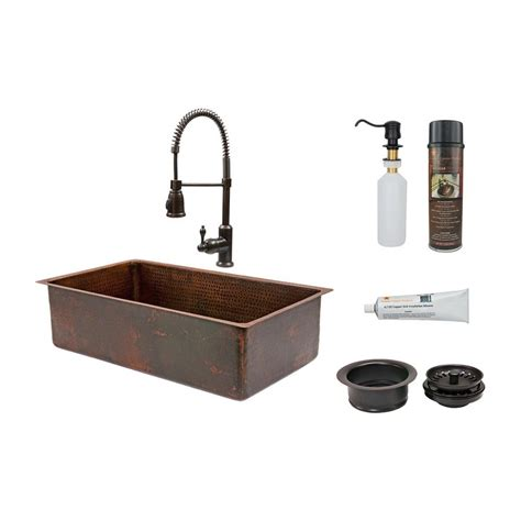 33x19 kitchen sink shop premier copper products 19 in x 33 in rubbed