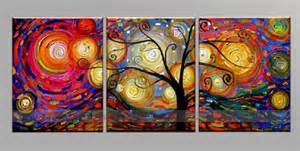 mixed color tree of life painting on three panels
