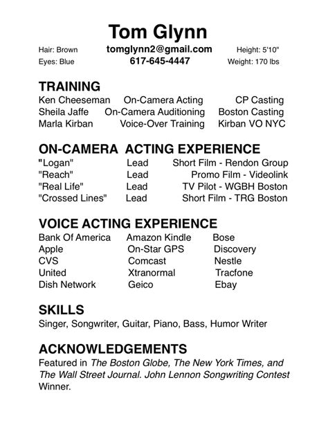 Actor Resume Television by Actor Resume Template New Calendar Template Site
