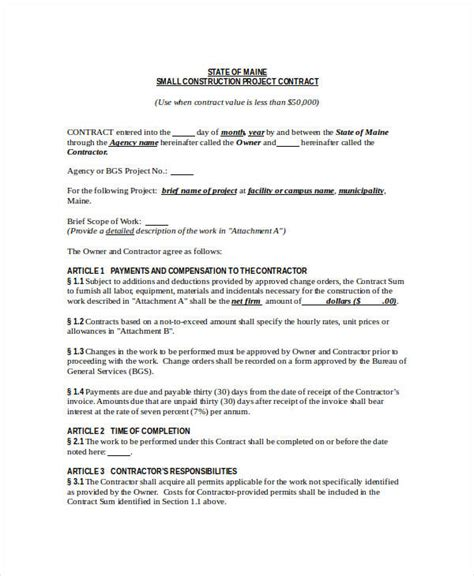 Construction Contract Template 12 Word Pdf Apple Pages Google Docs Documents Download Construction Contract Template Pdf
