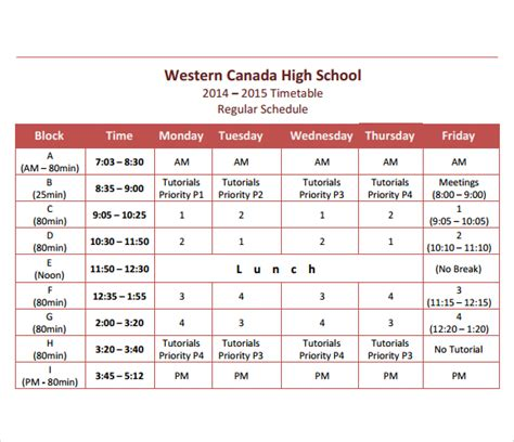 timetable school template 8 free timetable templates excel pdf formats
